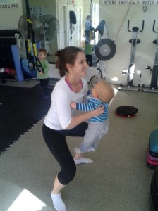 Leilani does the slump and flex in a squatting position. Holding the baby away from your body is harder.