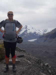Anna, 28wks pregnant, at the top of Balls Pass, one of our fearless four that stumbled into a glacier..!