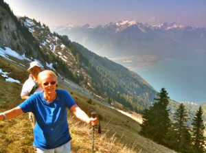 Trish, our over-55's trainer, hiking in Switzerland