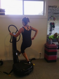 Single legs squat. Eventually we'd like you to let go of the powerplate!