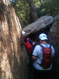 A particularly squeezy section, where we had to take off our backpack and contort our bodies to fit through the gap