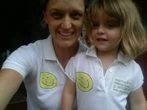 Evie and Clare in their Team T's