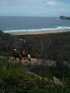 Our red-speckled team on the way down