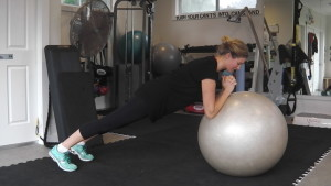 Fitball hover - either hold a stationary position, or roll the ball in and out with your elbows
