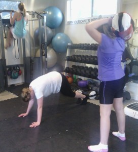 All of our training is bodyweight, or with real-life tools. The girls are never locked into an adult-sized weights machine.