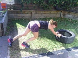 Tyre push (tough one on the abs!)