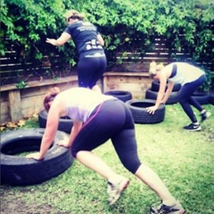 Tyre running man: hands on the tyre step back into a plank, then step forward, stand up, and step up onto the tyre. Repeat!