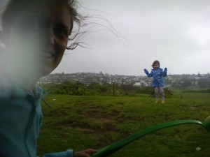 On a particularly wet and windy day, we exercised the dogs with a ball and ourselves by doing sprints up a hill.